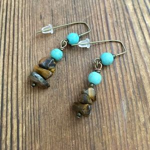 Tigers Eye and Turquoise Ladies Dangle Earrings